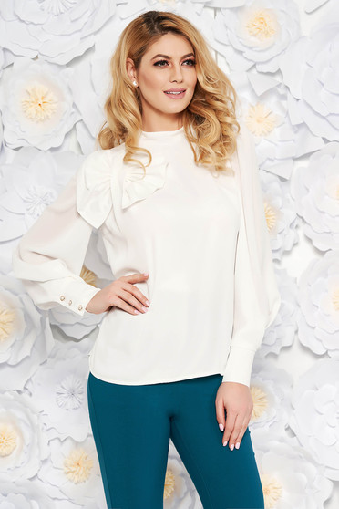Fehér LaDonna női blúz elegáns bő szabású lenge anyagból belső béléssel masni díszítéssel