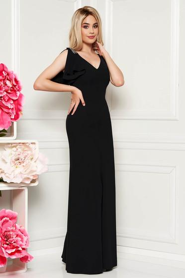 Fekete alkalmi hosszú ruha finom tapintású anyag belső béléssel gyöngyös díszítés