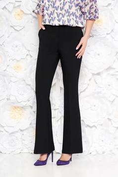 Fekete StarShinerS nadrág zsebekkel bővülő enyhén elasztikus szövet