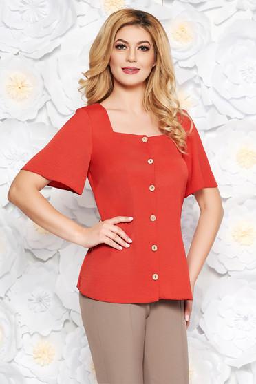 Téglaszín StarShinerS irodai bő szabású női ing lenge anyagból rövid ujjakkal