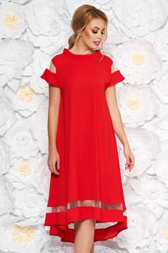 da679266cf Piros elegáns hétköznapi ruha gomb kiegészítőkkel deréktól bővülő szabás