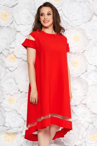 7b73889bb0 Piros elegáns bő szabású ruha asszimmetrikus szabással vékony anyag rövid  ujjú