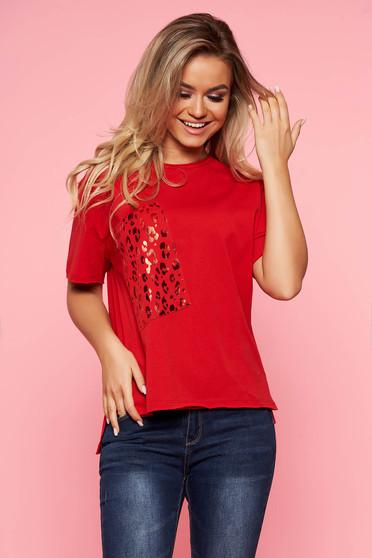 Piros Top Secret casual bő szabású póló pamutból készült rövid ujjú