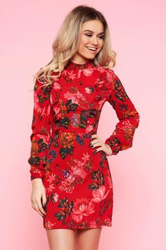 Piros Top Secret casual harang ruha nem rugalmas anyag fodros virágmintás díszítéssel