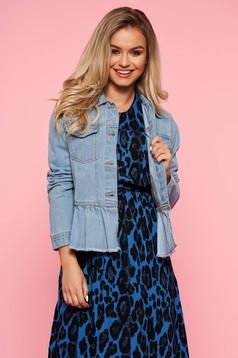 Kék Top Secret casual fodros dzseki farmerarnyagból egyenes szabás