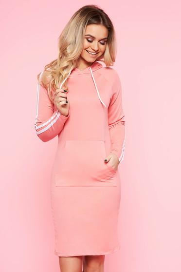 Világos rózsaszín SunShine hétköznapi hosszú ujjakkal ruha enyhén elasztikus pamut zsebes