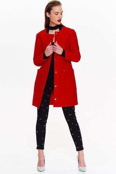 Piros Top Secret casual egyenes nagykabát finom tapintású anyag zsebekkel