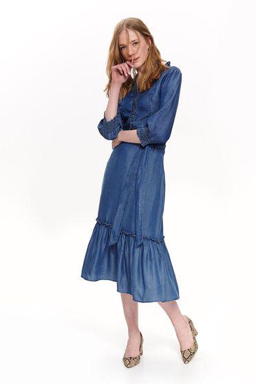 Kék Top Secret casual háromnegyedes ujjú női ing lenge anyagból fodrok a dekoltázs vonalánál