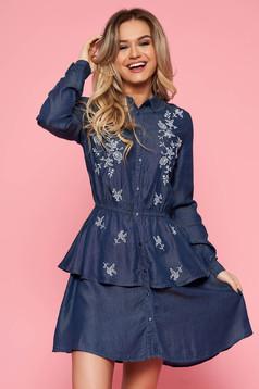 Kék Top Secret casual harang ruha derékban rugalmas lenge anyagból hímzett betétekkel