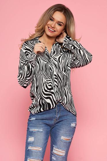 4d521d7ee5 Fekete Top Secret casual bő szabású női ing lenge anyagból hosszú ujjakkal