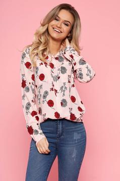 Rózsaszínű Top Secret casual női ing hosszú ujjakkal virágmintás lenge anyagból