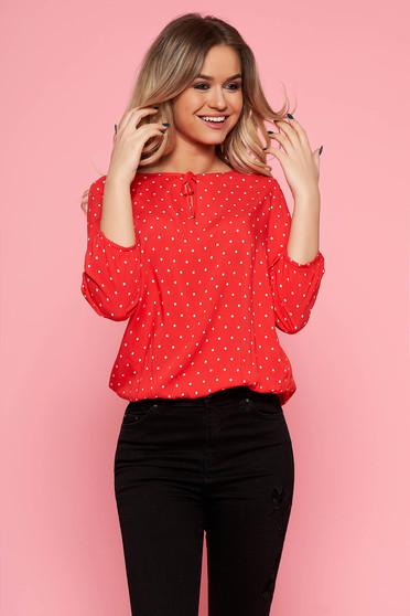 Piros Top Secret casual bő szabású női blúz pöttyös lenge anyagból