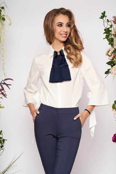 Sötétkék PrettyGirl elegáns női ing szűk szabás enyhén rugalmas anyag háromnegyedes ujjú