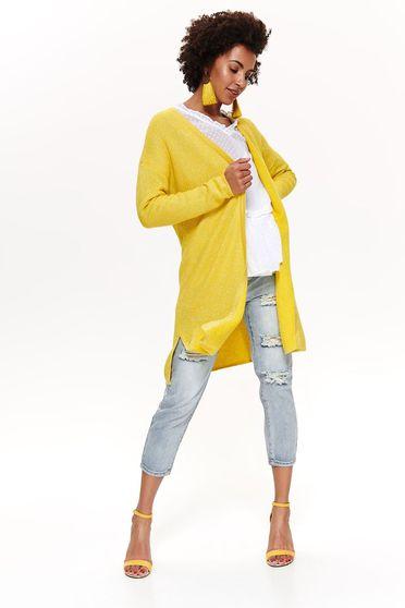 Sárga Top Secret casual kardigán nem elasztikus pamut bő szabás hosszú ujjakkal