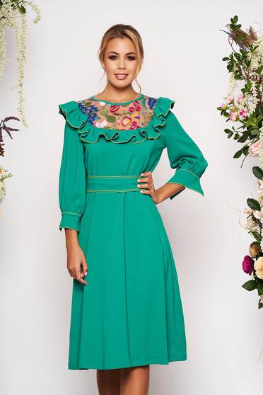 Zöld LaDonna elegáns bő szabású ruha enyhén rugalmas szövetből