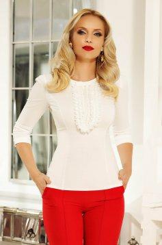 Fehér Fofy irodai fodros női ing szűk szabás rugalmas pamut