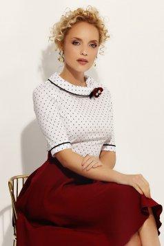 Fehér Fofy irodai női ing szűk szabás enyhén elasztikus pamut bross kiegészítővel