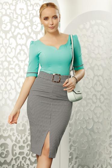 Zöld Fofy irodai szűk szabás női ing rugalmas pamut v-dekoltázzsal