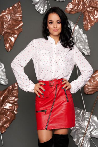 Fehér casual bő szabású pöttyös női ing szellős anyagból hosszú ujjakkal