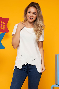 Fehér casual bő szabású asszimmetrikus pamutból készült póló