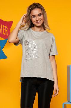 Világosszürke Top Secret casual bő szabású póló enyhén elasztikus pamut fém díszítések