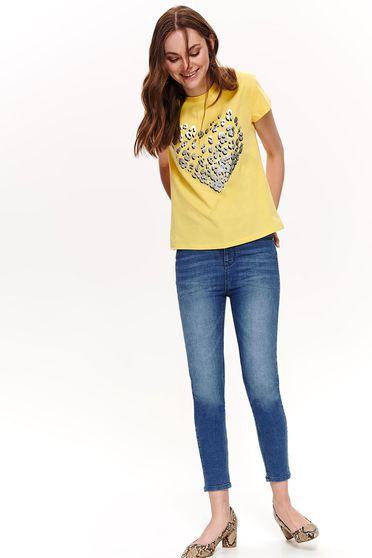 Sárga Top Secret casual bő szabású póló enyhén elasztikus pamut fém díszítések