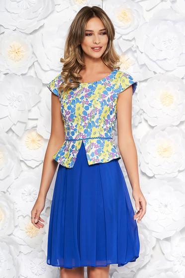 Kék elegáns harang ruha fátyol anyag belső béléssel derekán fodros