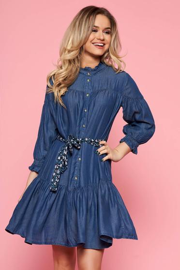 Kék Top Secret bő szabású casual ruha vékony anyag farmerarnyagból övvel ellátva