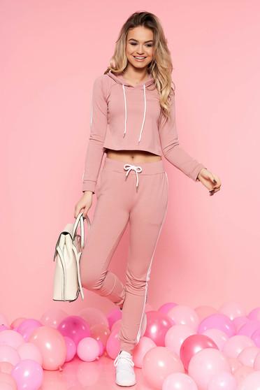 Rózsaszínű SunShine casual szett enyhén elasztikus pamut zsebes zsinórral van ellátva