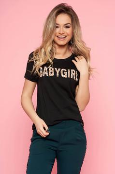 Fekete SunShine casual póló enyhén elasztikus pamut írásos mintával