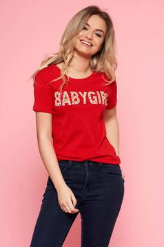 Piros SunShine casual póló enyhén elasztikus pamut írásos mintával
