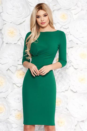 Zöld StarShinerS irodai ruha szűk szabás enyhén rugalmas anyag háromnegyedes ujjú