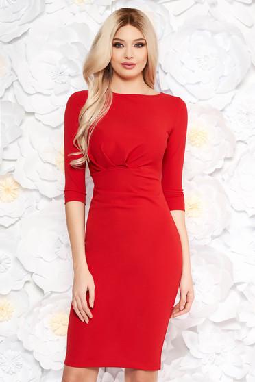 Piros StarShinerS irodai ruha szűk szabás enyhén rugalmas anyag háromnegyedes ujjú