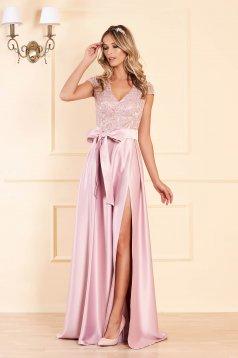 Rózsaszínű Artista alkalmi harang ruha v-dekoltázzsal szivacsos mellrész szatén anyagból csipkés anyag