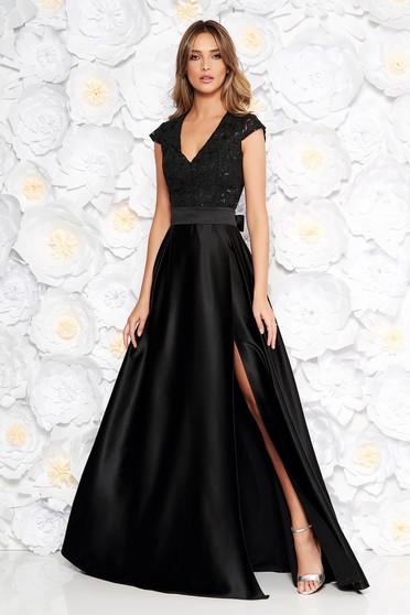 eac772dca3 Fekete Artista alkalmi harang ruha v-dekoltázzsal szivacsos mellrész szatén  anyagból csipkés anyag