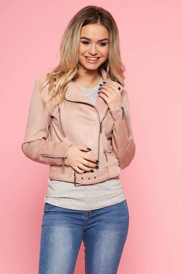 Rózsaszínű Top Secret casual rövid dzseki bársonyos anyag övvel ellátva