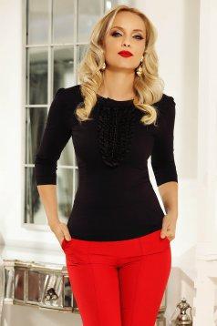 Fekete Fofy irodai fodros női ing szűk szabás rugalmas pamut gyöngy díszítéssel