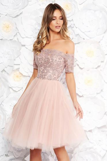 Rózsaszínű Artista alkalmi harang ruha csipkés anyag tűll szivacsos mellrész flitteres díszítés