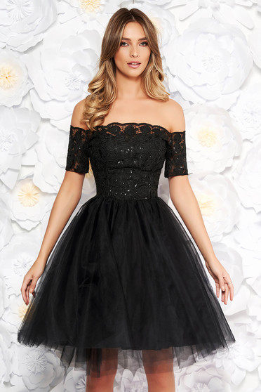 Fekete Artista alkalmi harang ruha csipkés anyag tűll szivacsos mellrész flitteres díszítés