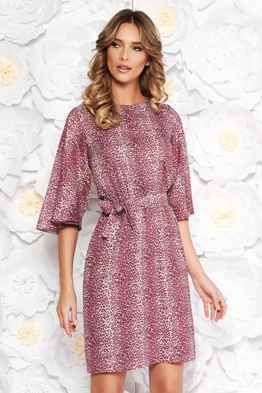 Lila StarShinerS ruha hétköznapi fátyol anyag belső béléssel bő szabású övvel ellátva
