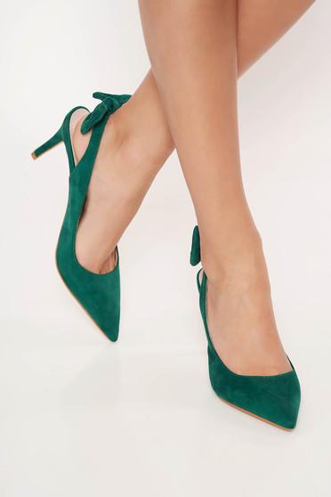 Zöld Top Secret elegáns cipő masni díszítéssel enyhén hegyes orral