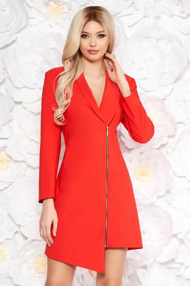 Piros LaDonna elegáns zakó tipusú ruha rugalmatlan szövet béléssel hosszú ujjakkal