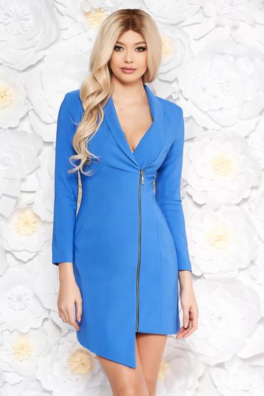 Kék LaDonna elegáns zakó tipusú ruha rugalmatlan szövet béléssel hosszú ujjakkal