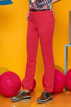 Darkpink Top Secret elegáns egyenes nadrág öv típusú kiegészítővel enyhén elasztikus szövet