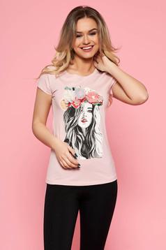 Rózsaszínű szűk szabás casual SunShine póló enyhén elasztikus pamut virágos díszek 3d effekt