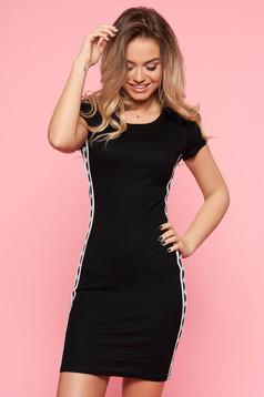 Casual szűk szabás fekete SunShine ruha enyhén elasztikus pamut