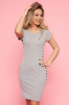 Casual szűk szabás sötétszürke SunShine ruha enyhén elasztikus pamut