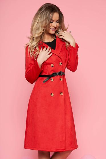 Piros SunShine hétköznapi harang ruha bársonyos anyag öv típusú kiegészítővel