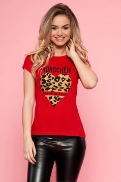 Piros SunShine casual pamutból készült póló szűk szabás enyhén elasztikus pamut