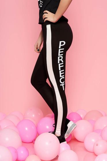 Fekete SunShine casual sportos jégernadrág enyhén elasztikus pamut szűk szabás